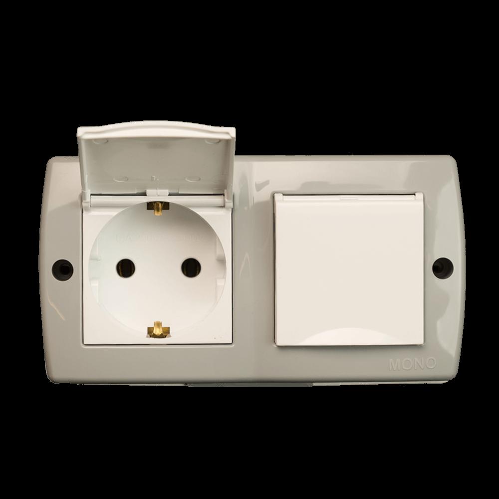 Priza dubla Mono Electric Octans, cu capac, IP44, alb mathaus 2021