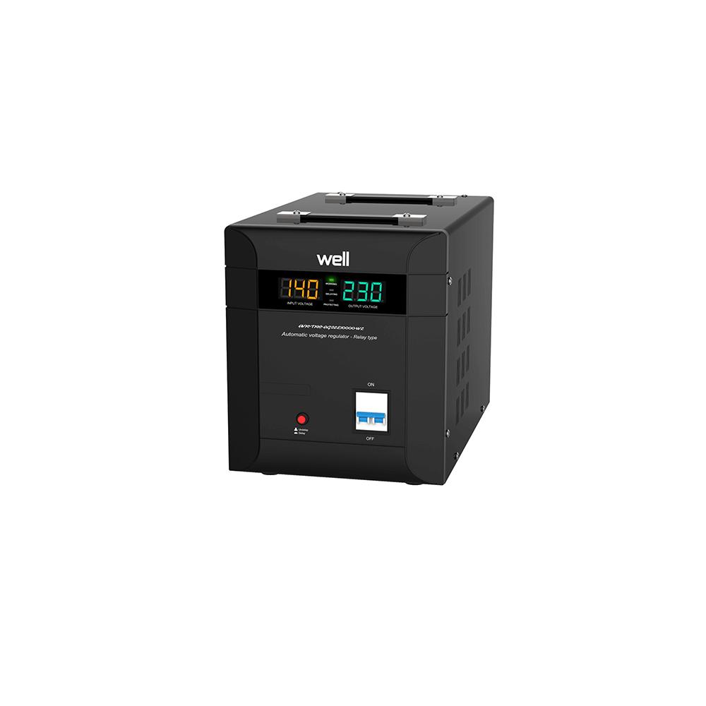 Stabilizator automat de tensiune cu triac Well Agile 10000VA, 7000W, afisaj LED, clasa I imagine MatHaus