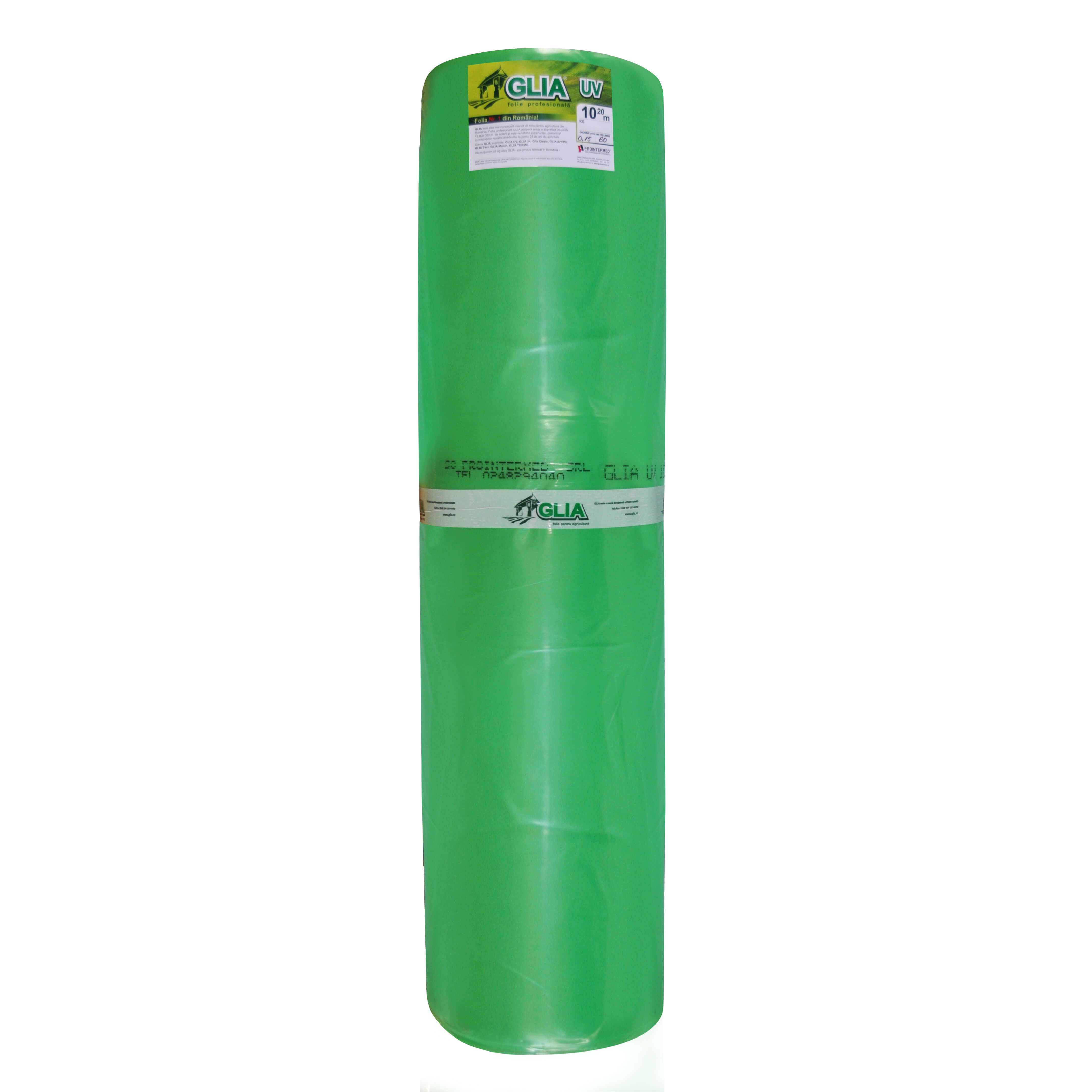 Folie polietilena Glia UV, PE natur verde, 0.15 mm grosime, rezistenta UV 36 luni, 10.20 m latime mathaus 2021