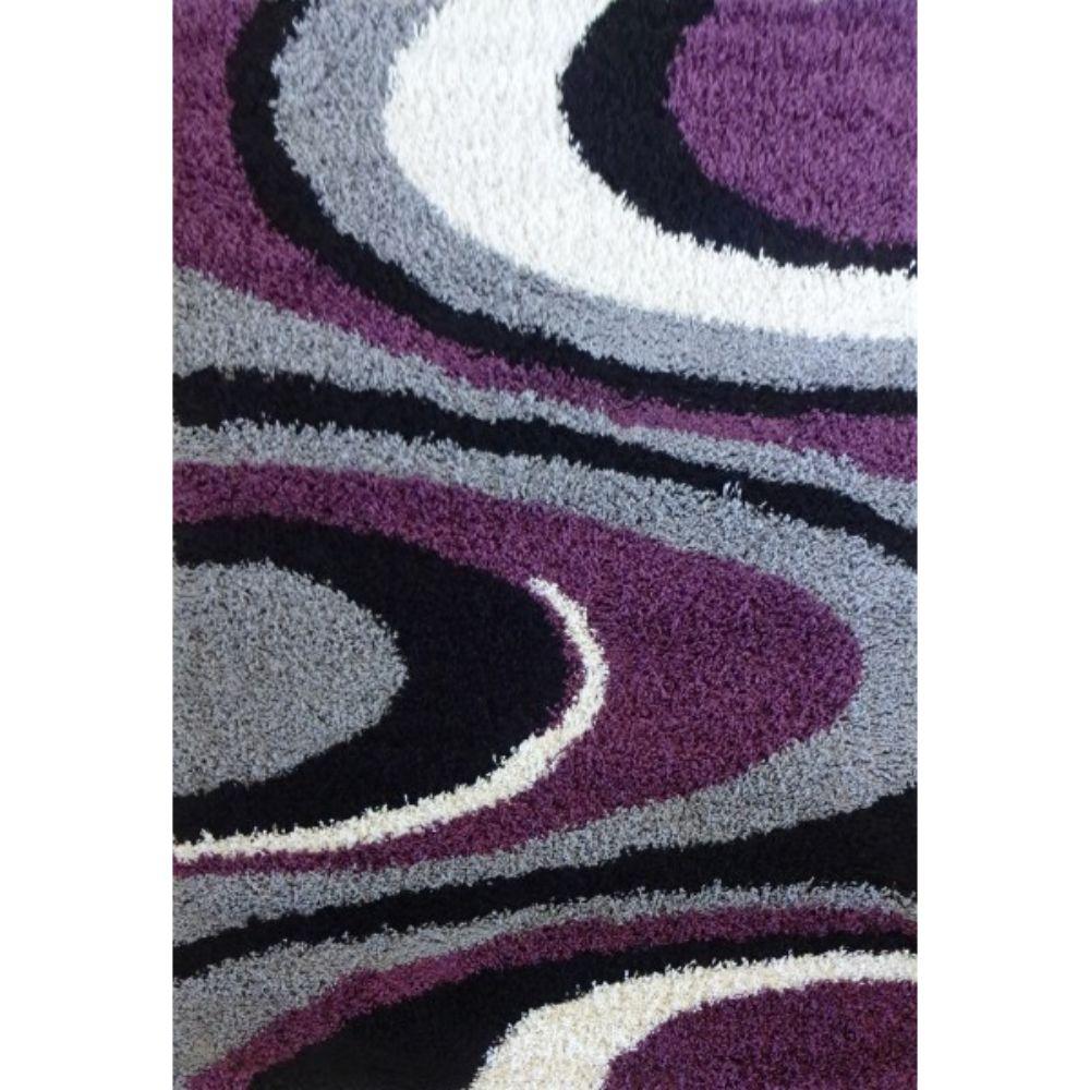 Covor modern Shagy Paris 1207, polipropilena friese, model abstract gri, lila, 120 x 160 cm mathaus 2021