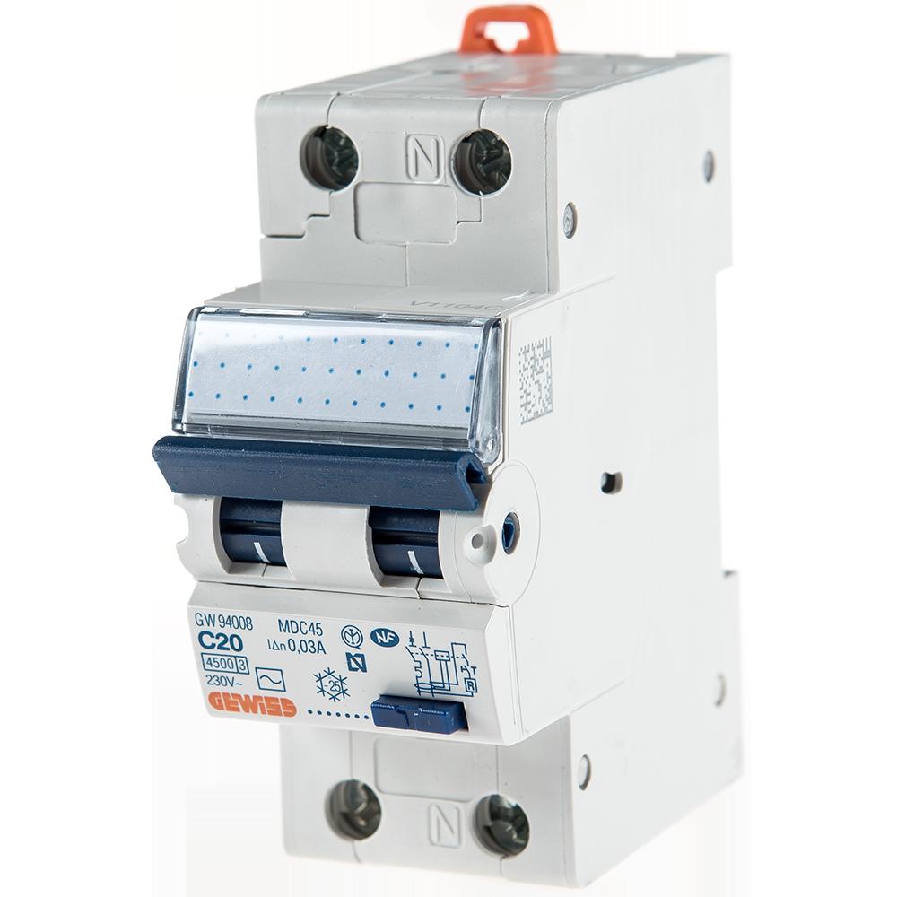Intrerupator automat diferential GW94008 1P+N 20A 30mA Gewiss imagine MatHaus.ro