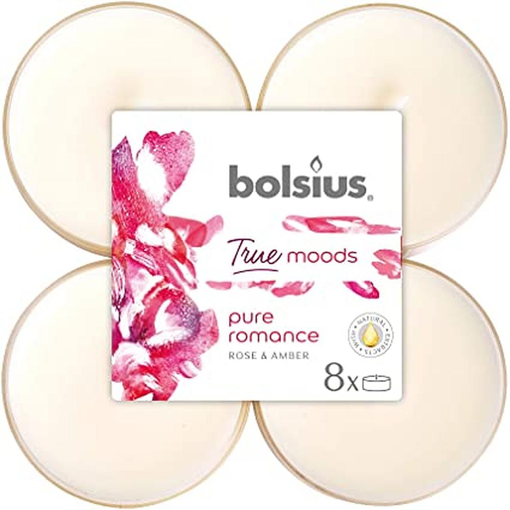 Set 8 lumanari parfumate tip pastila maxi Bolsius, crem, trandafir si chihlimbar imagine 2021 mathaus