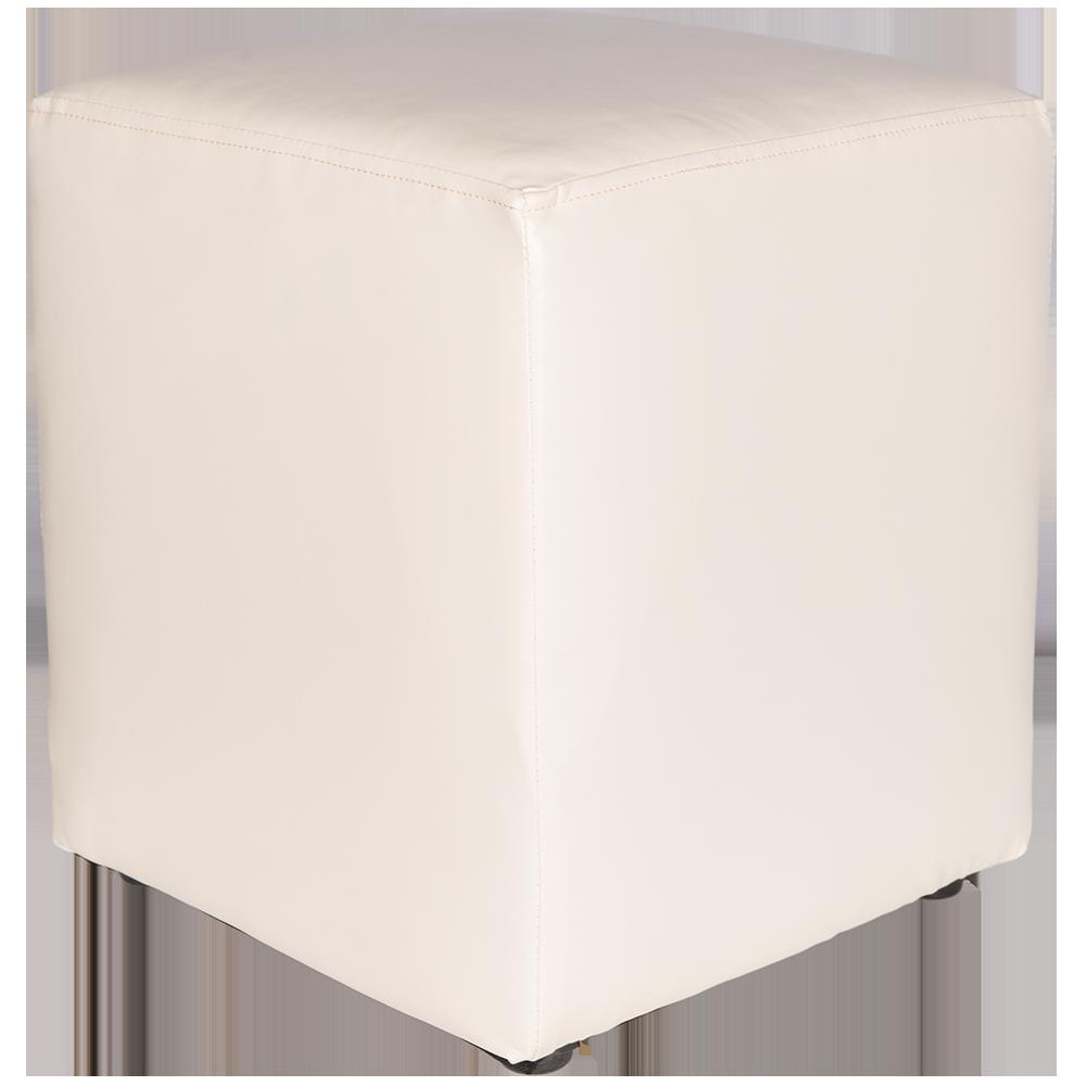 Taburet Cube tapiserie piele ecologica alb IP21894 45x37x37 cm