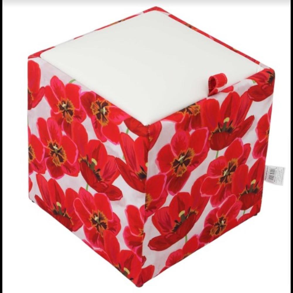 Taburet Box piele ecologica, microfibra, alb/rosu, cu depozitare, 37 x 37 x 42 cm imagine MatHaus.ro