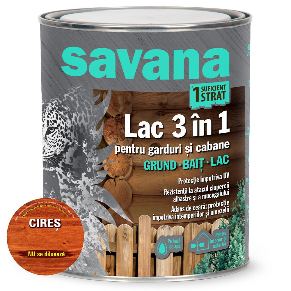 Lac 3 in 1 Savana garduri si cabane, cires, pe baza de apa, interior / exterior, 0,75 l