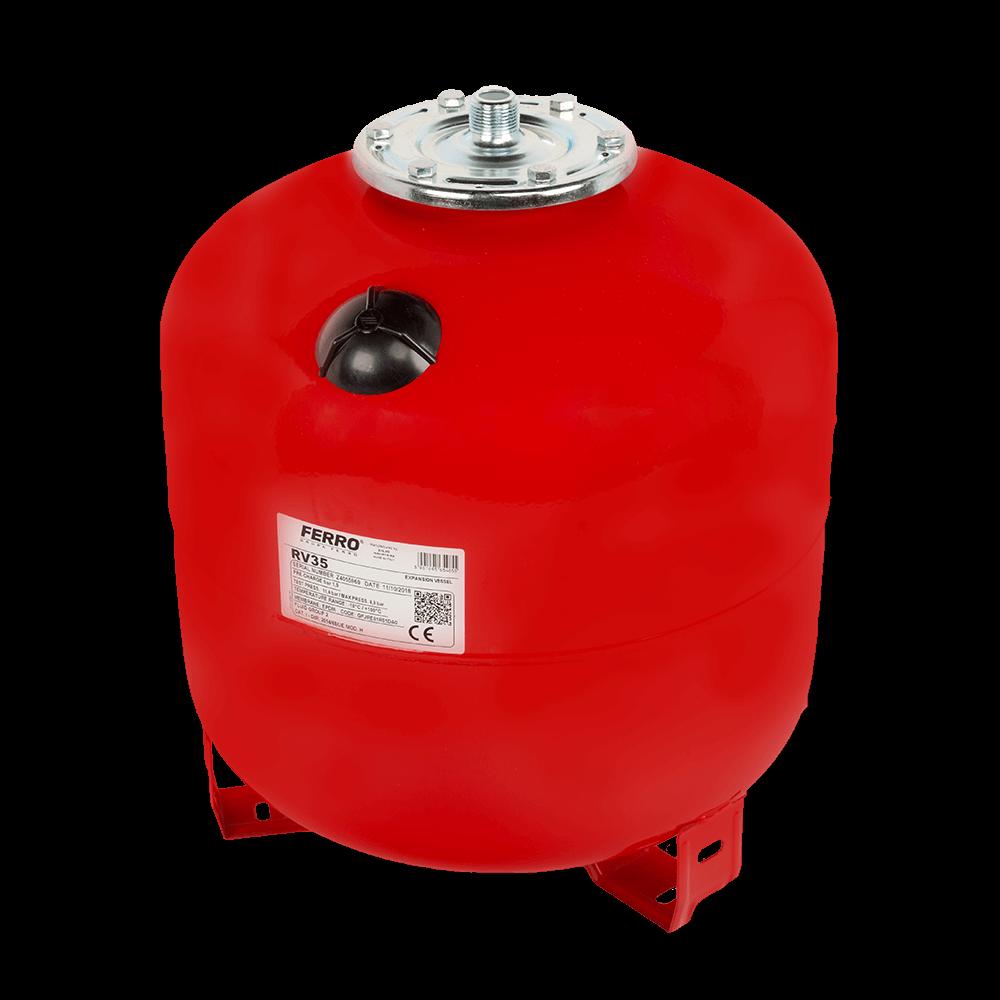 Vas de expansiune pentru apa calda Ferro CO35S RV35, montaj pe pardoseala, rosu, 35 l imagine MatHaus