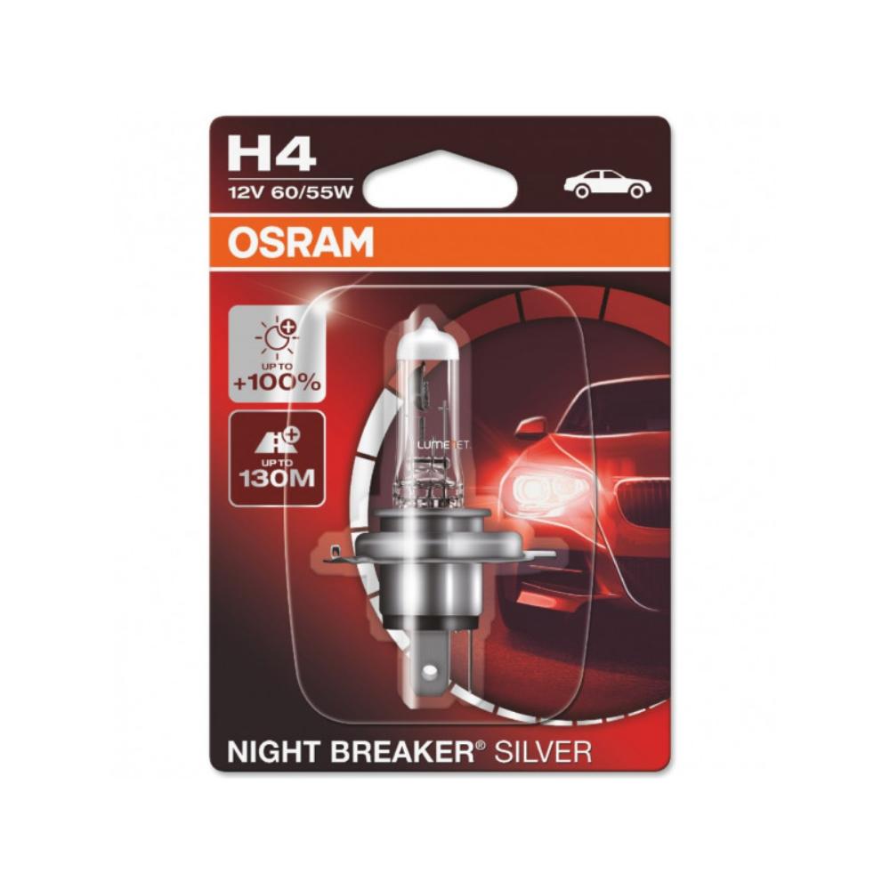Becuri auto cu halogen Osram H1 Night Breaker Silver +100%, 55W, 12V, P14.5S mathaus 2021