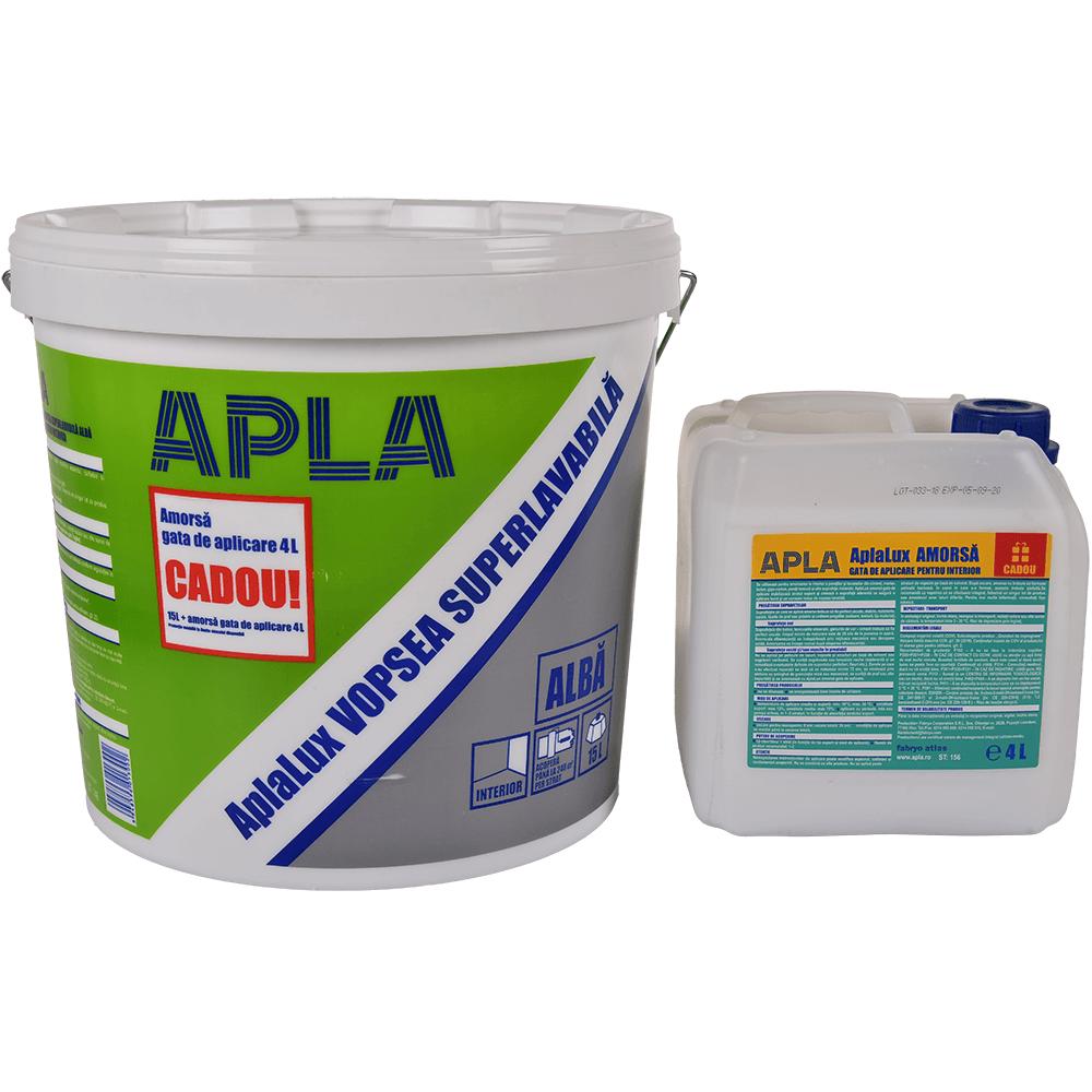Vopsea superlavabila Aplalux, 15 L + amorsa gata de aplicare 4 L mathaus 2021