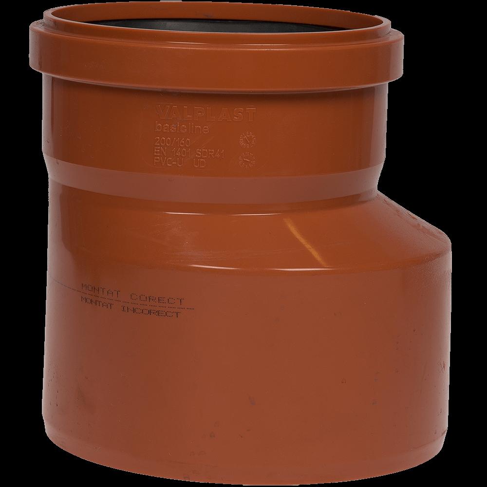 Reductie excentrica pentru canalizare exterioara Valplast, PVC, 200 x 160 mm imagine 2021 mathaus