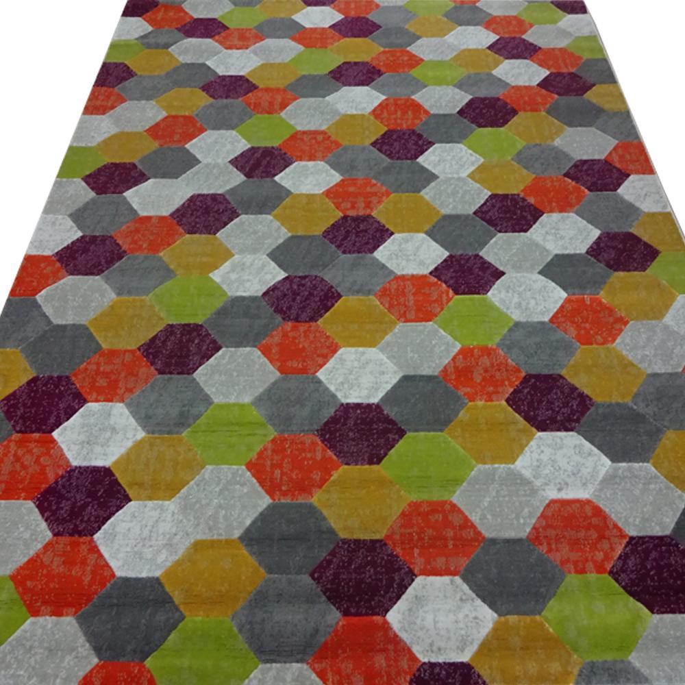 Covor copii Texture 4708-17G23, polipropilena heat-set, model geometric multicolor, 160 x 230 cm mathaus 2021
