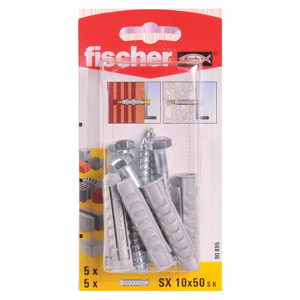 Diblu din nailon cu surub, Fischer SX, 10 x 50 mm, 7 x 65 mm, 5 buc imagine MatHaus