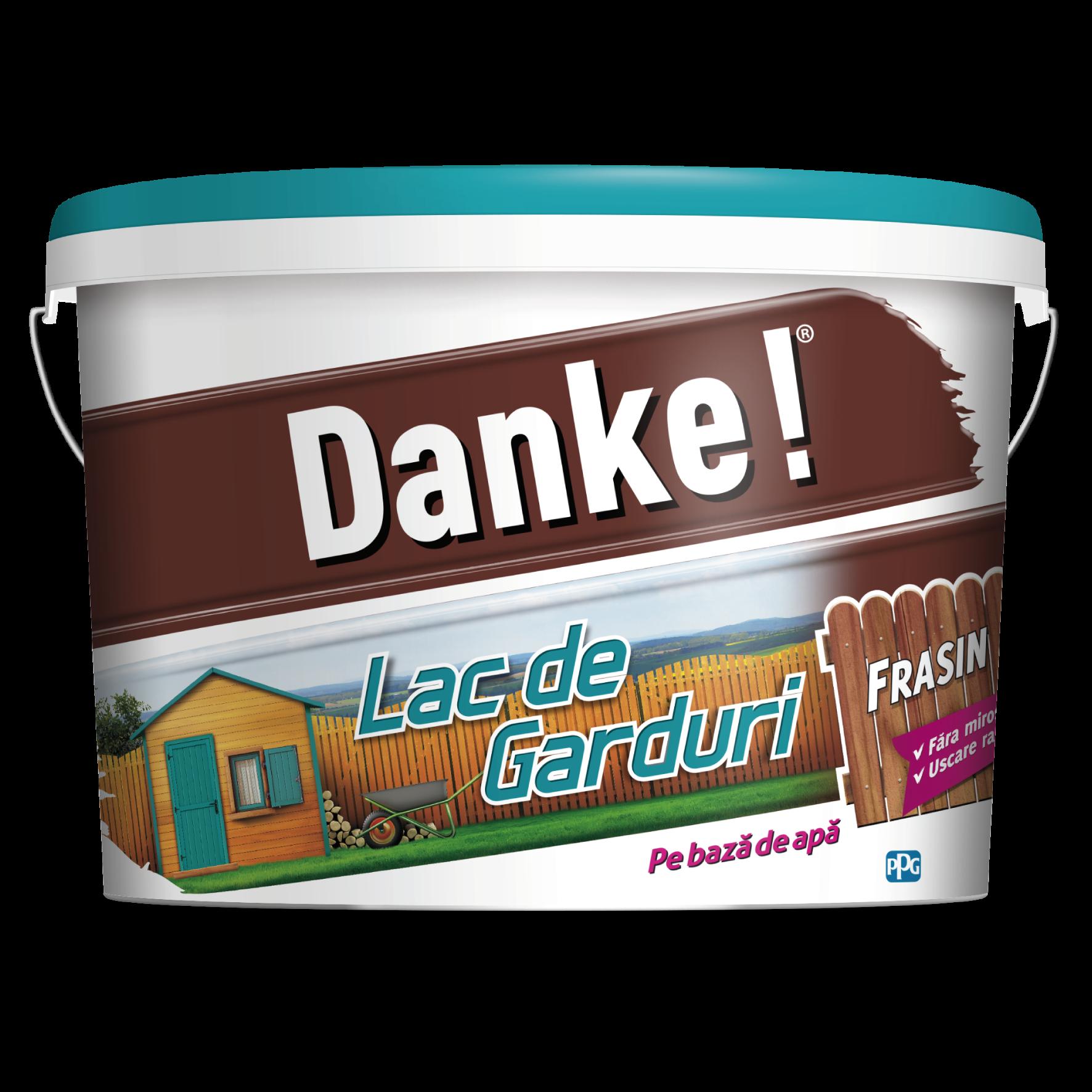 Lac pentru lemn Danke pentru garduri, frasin, pe baza de apa, interior/exterior, 4 l