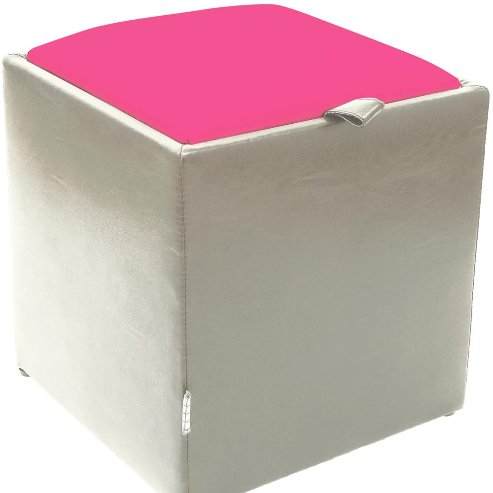Taburet Box roz/ alb Ip, 37 x 37 x 42 cm imagine MatHaus.ro