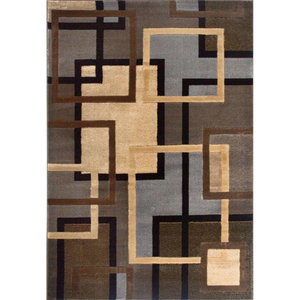 Covor modern Tribeca Hand Carved 1450-99, polipropilena, model geometric maro-bej-gri, 80 x 150 cm