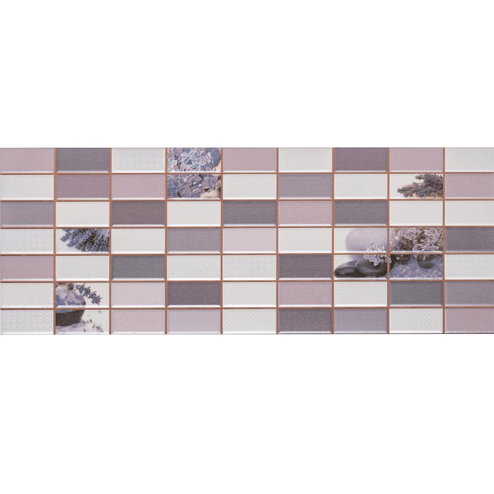 Faianta decorativa  Dual Gres Dglam, finisaj estetic, mov, alb si maro, model geometric cu lavanda, 22,5 x 60 cm