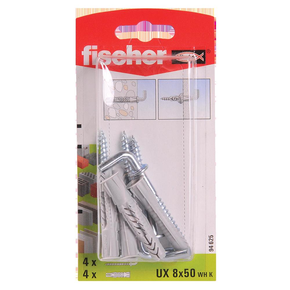 Diblu din nailon cu surub L, Fischer UX, 8 x 50 mm, 5.5 x 70 mm, 4 buc imagine MatHaus