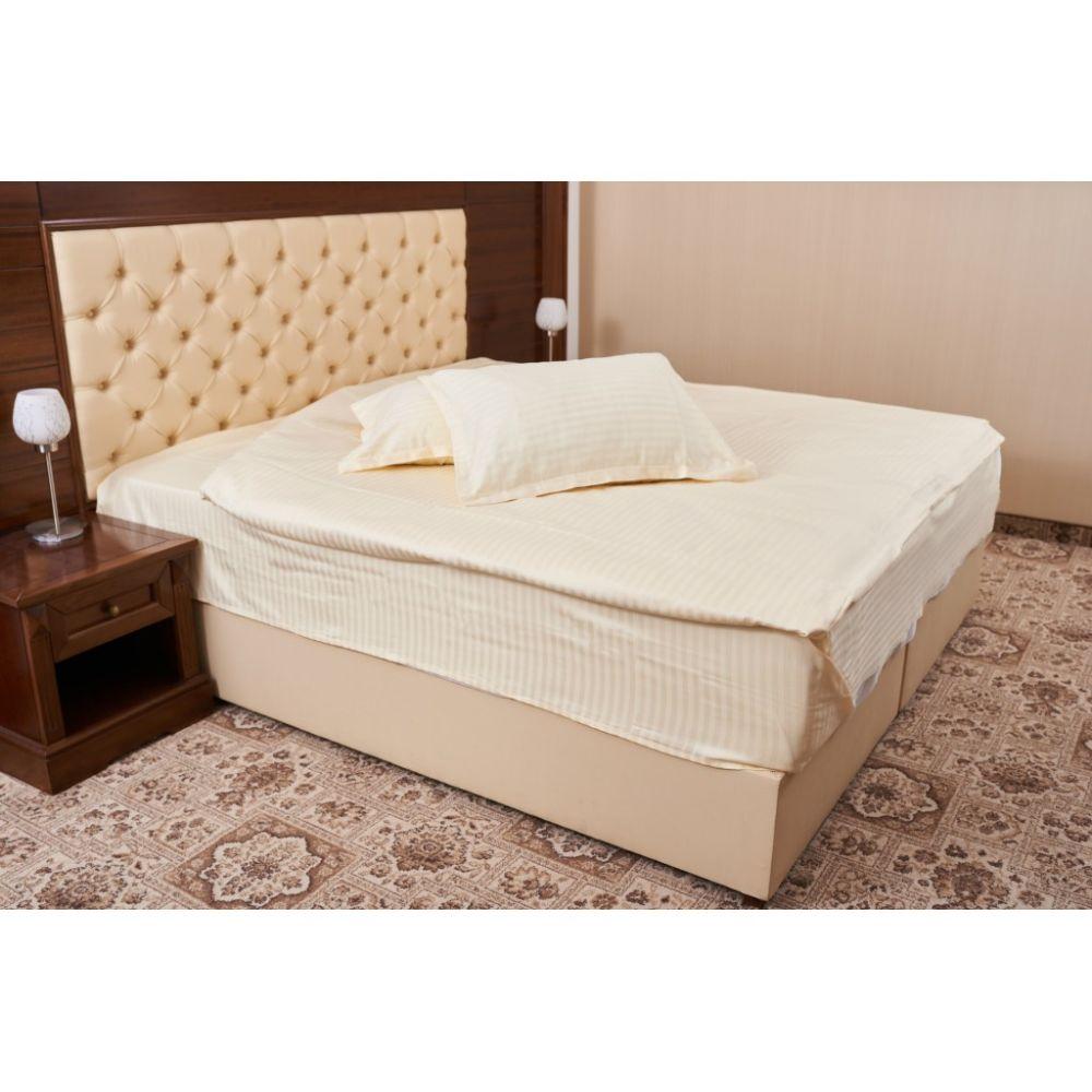 Lenjerie pat Damasc, 4 piese, 2 persoane, crem