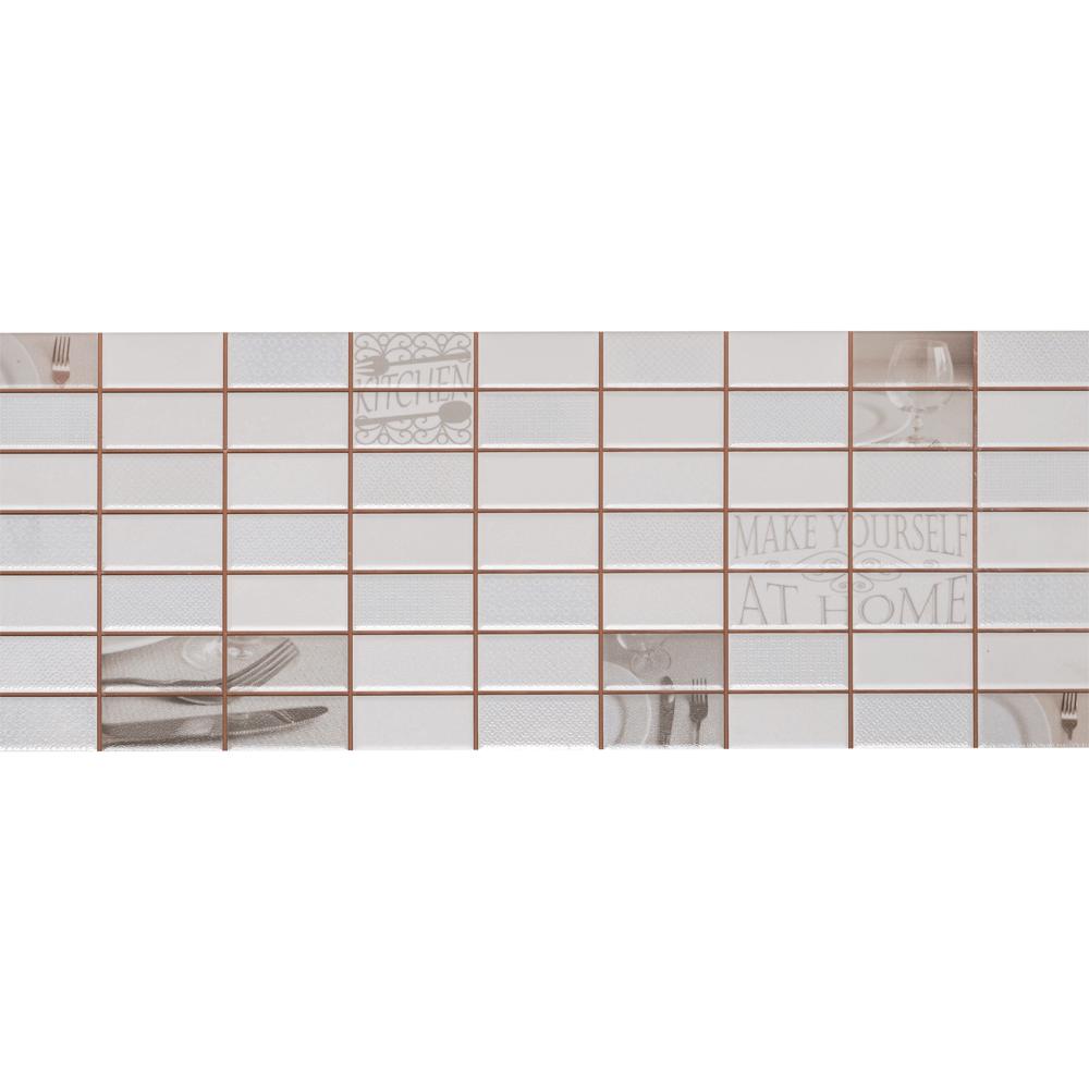 Faianta decorativa Dual Gres Dglam, finisaj estetic, bej si alb, model geometric cu tema pranz, 22,5 x 60 cm