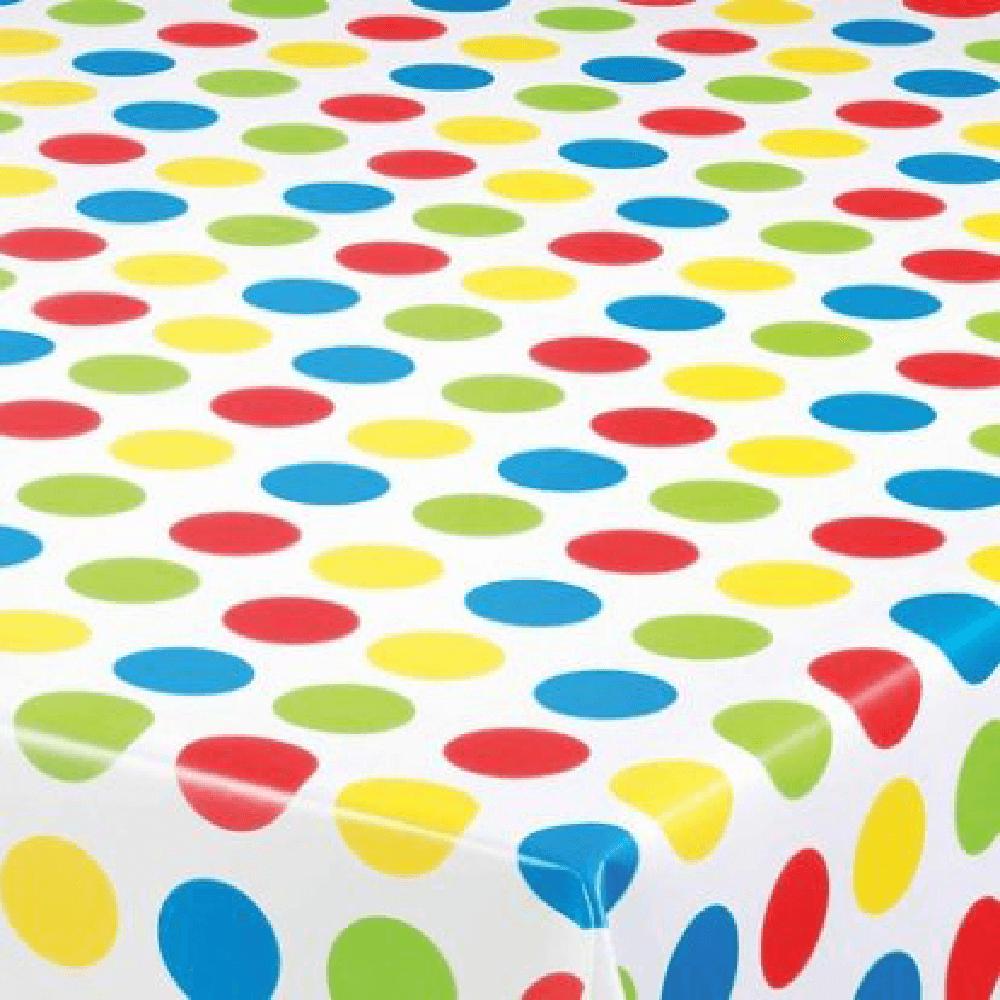 Fata de masa, model buline multicolore, pvc, alb, 140 cm