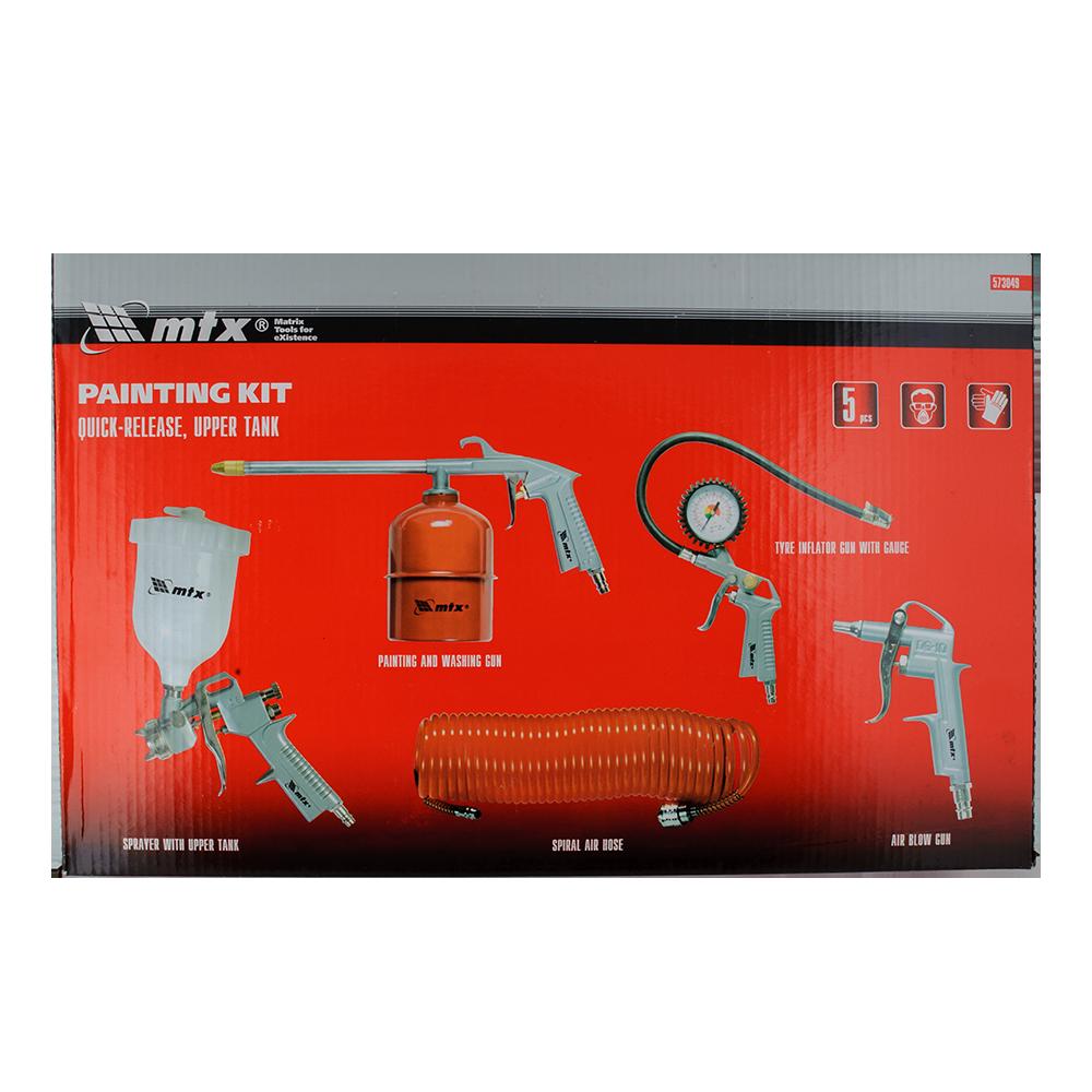 Set scule pneumatice MTX 573049, 5 piese, conexiuni rapide,pistol p/u vopsit+rezervor in partea de sus mathaus 2021