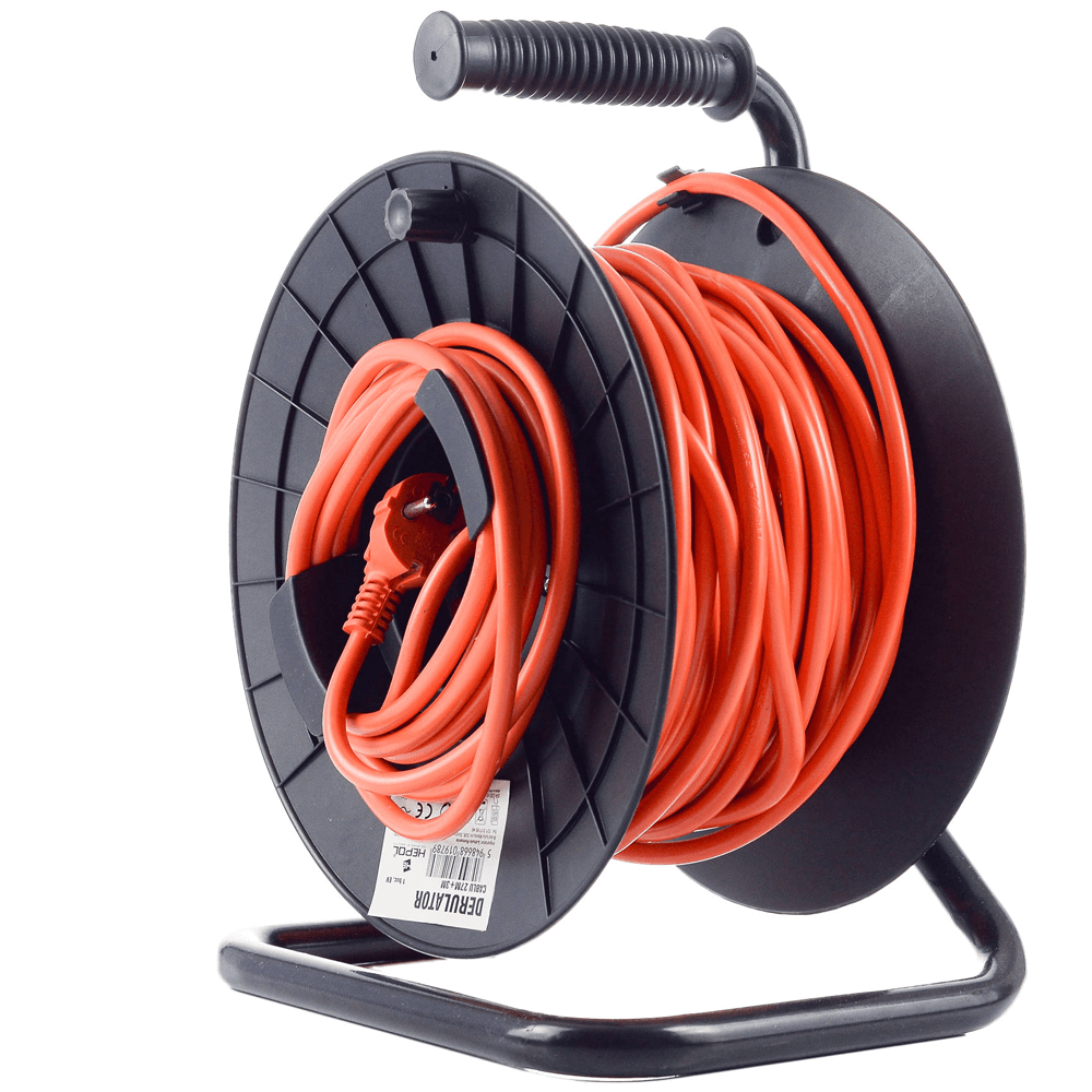Tambur cablu electric Hepol, 1 prize, protectie copii, 27 m + 3 m, portocaliu mathaus 2021
