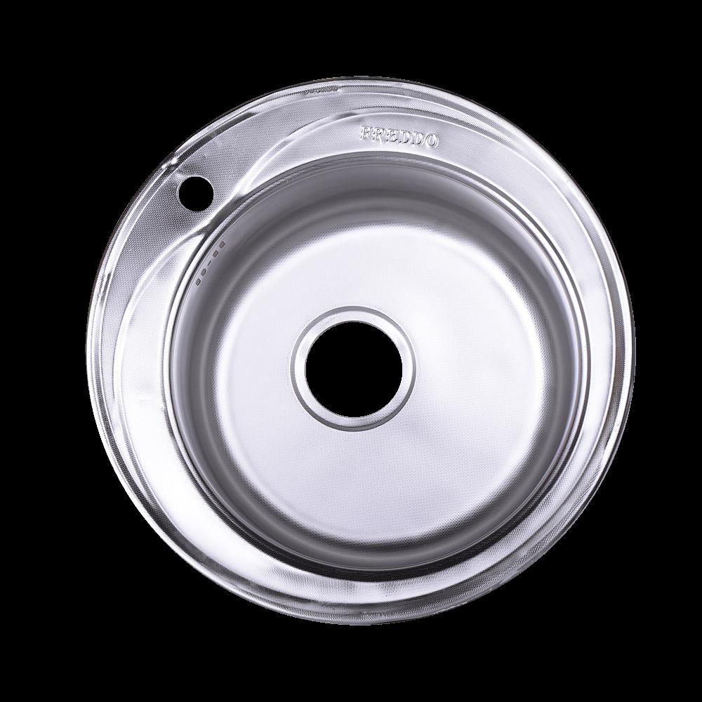 Chiuveta de bucatarie cu sifon Freddo, Q48 ERT, inox 304, argintiu, lucios, ovala, adancime cuva 17 cm, 49 cm imagine 2021 mathaus