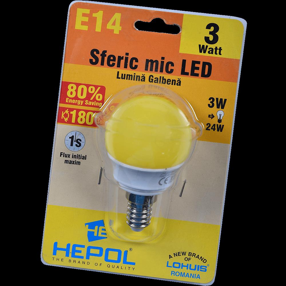Bec LED Hepol, rotund, E14, 3 W, lumina galbena mathaus 2021