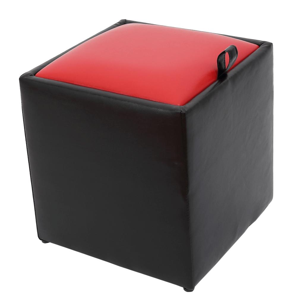 Taburet Box rosu / negru Ip, 37 x 37 x 42 cm imagine MatHaus.ro