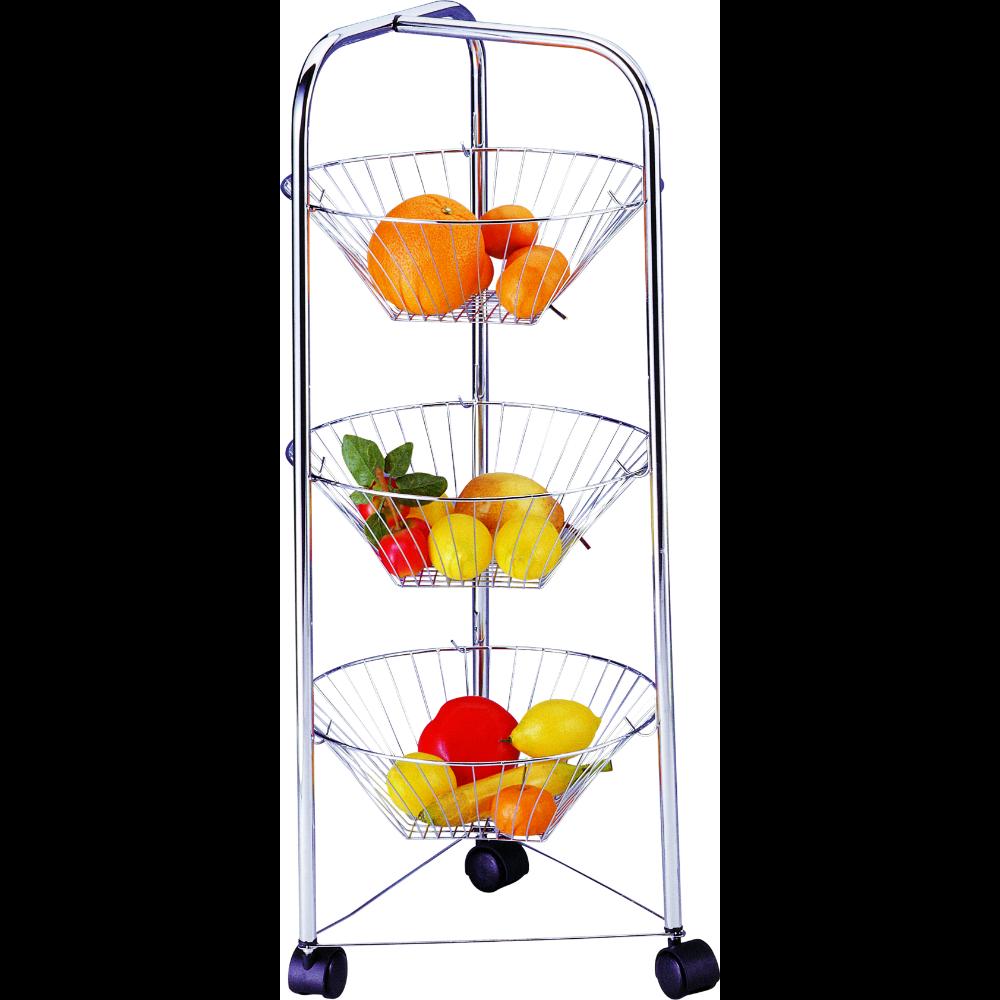 Etajera fructe si legume pe 3 nivele, otel cromat, 32 x 32 x 78 cm imagine MatHaus
