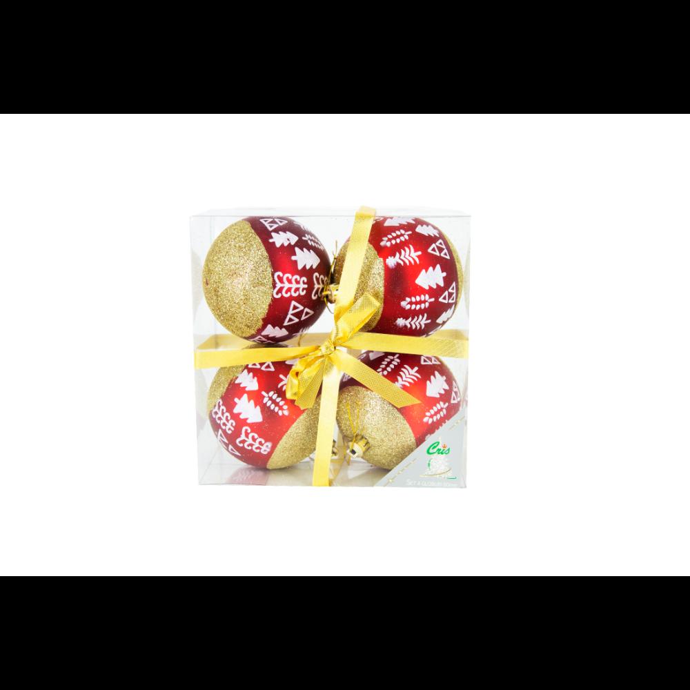 Set 4 globuri decorative de Craciun Cris, plastic, 8 cm