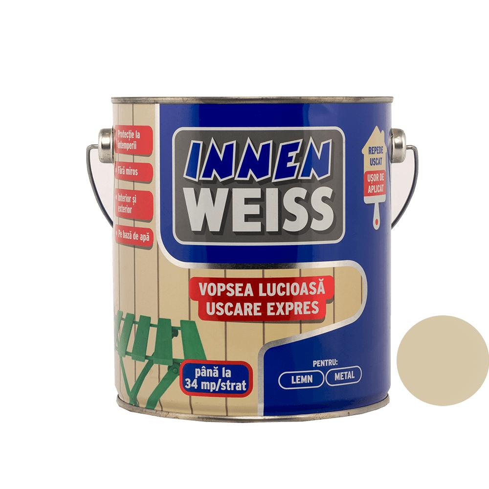 Vopsea lucioasa Innenweiss, interior si exterior, uscare expres, crem 2,4 L imagine 2021 mathaus