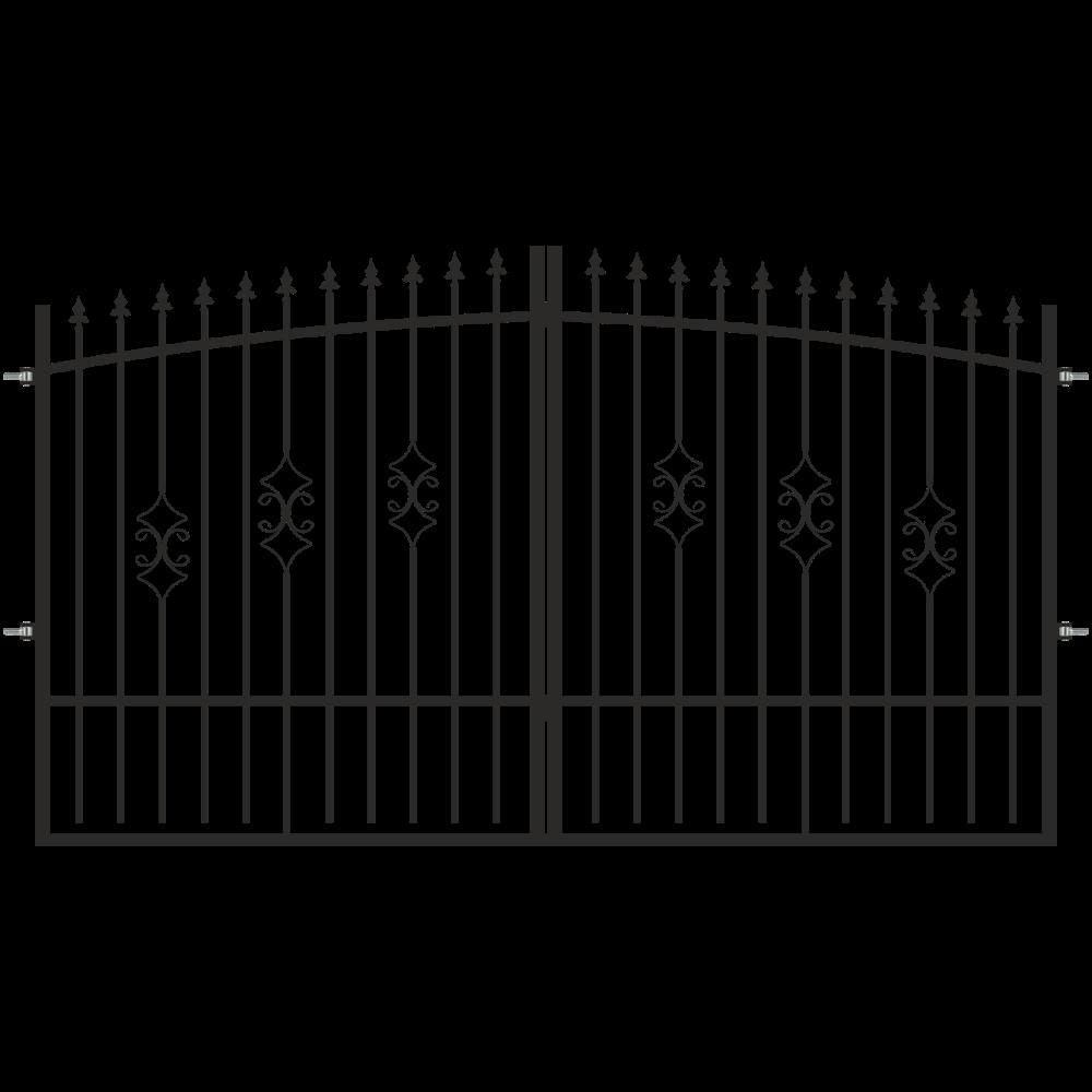 Poarta Flora, negru RAL9005, 3 x 1,8 - 2 m