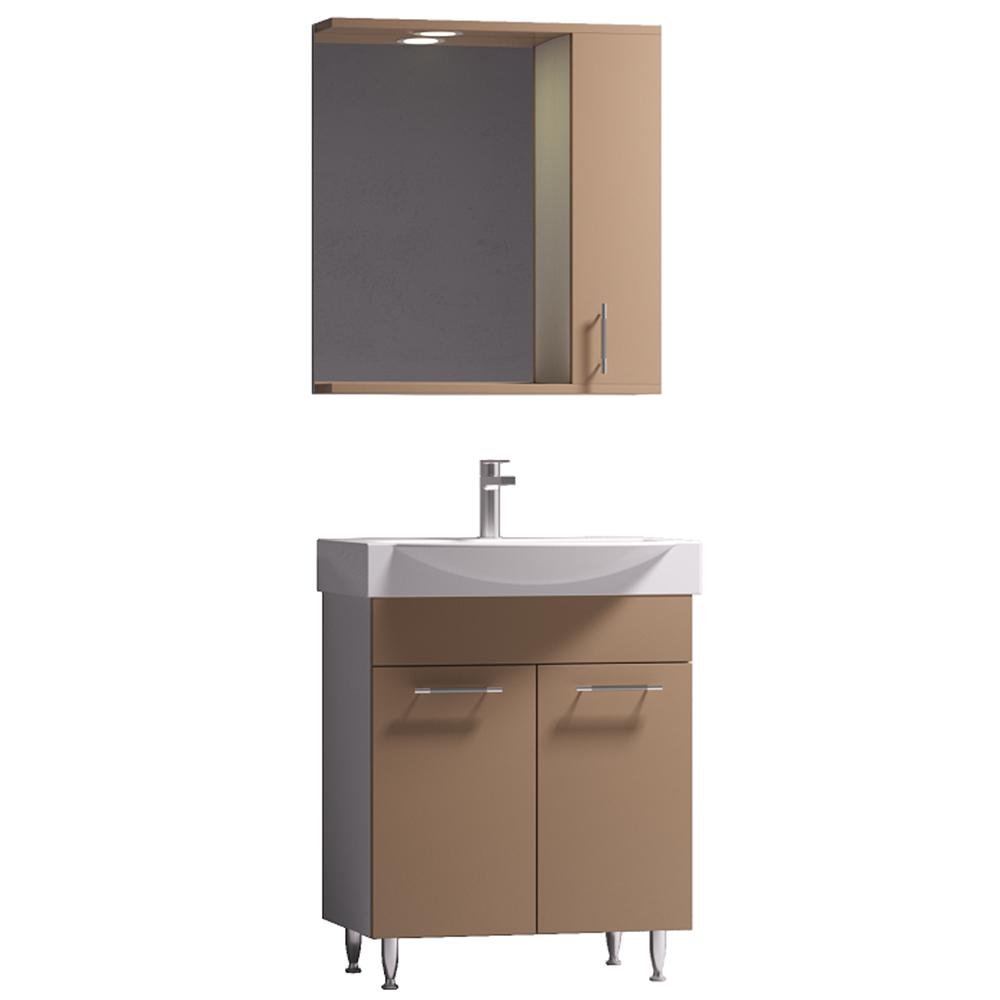 Set mobilier baie Badenmob Seria 354, masca + lavoar + oglinda, capucino imagine 2021 mathaus