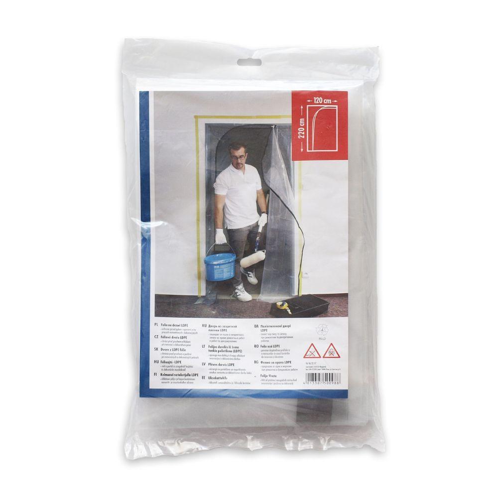 Folie de protectie usa cu fermoar din LDPE, pliata, 120 x 220 cm
