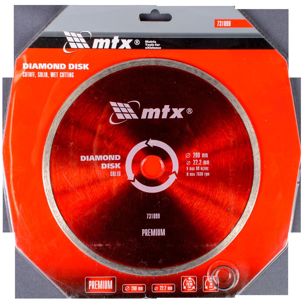 Disc diamantat pentru taiere umeda MTX PREMIUM, 200 x 22,2 mm