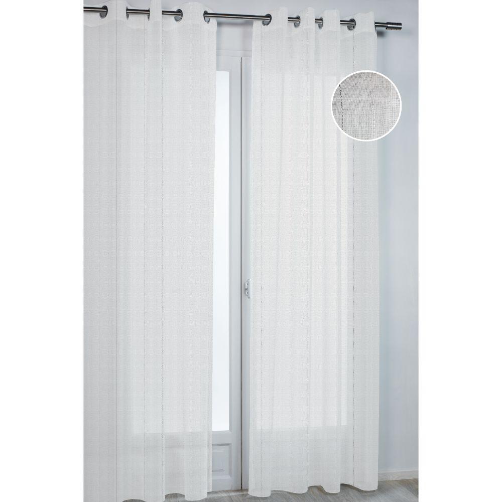 Perdea Bijoux 3847 din 100% poliester, alba cu dungi verticale negre/argintii, 140 x 260 cm imagine 2021 mathaus