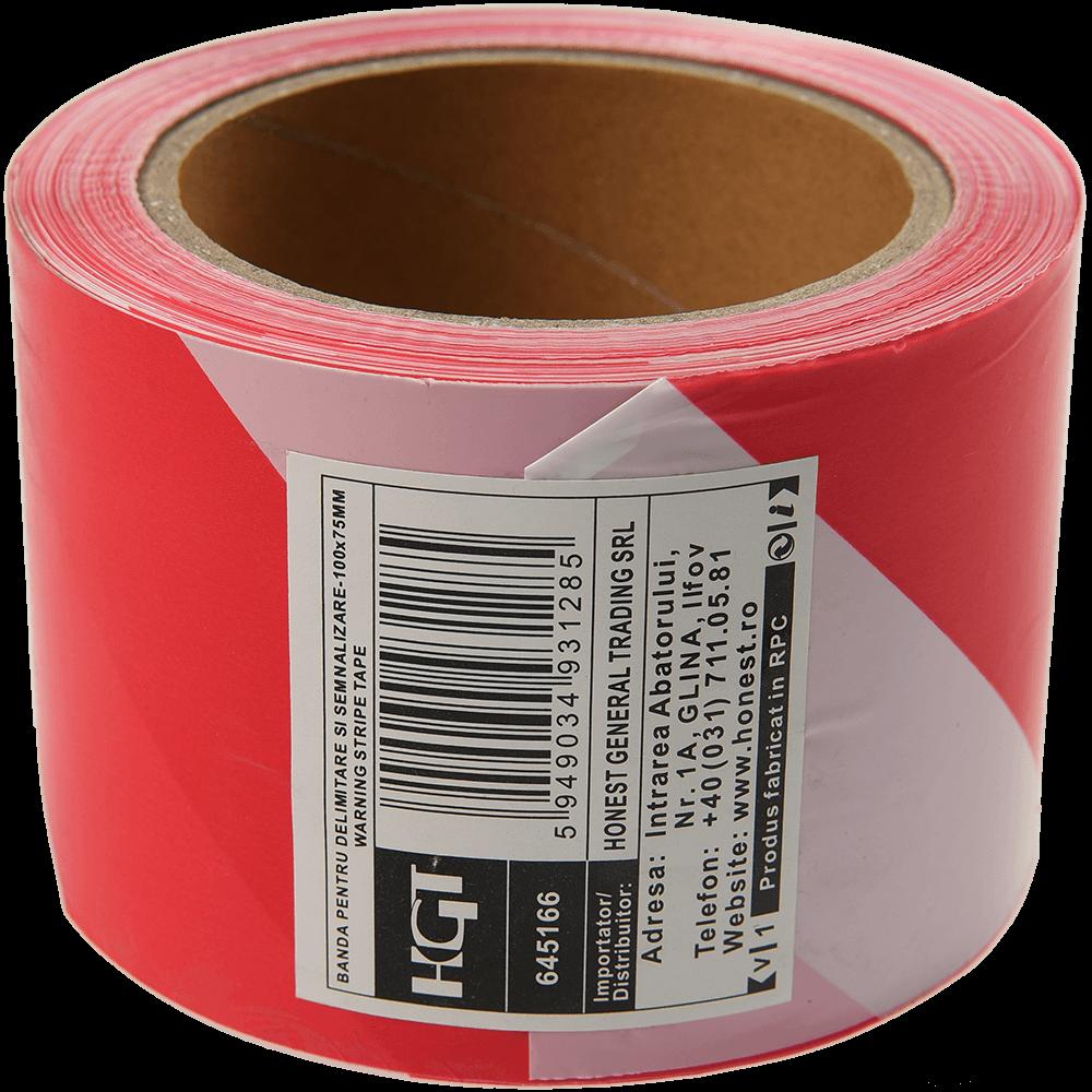 Banda delimitare si semnalizare, 75 mm x 100 m, rosu + alb imagine 2021 mathaus