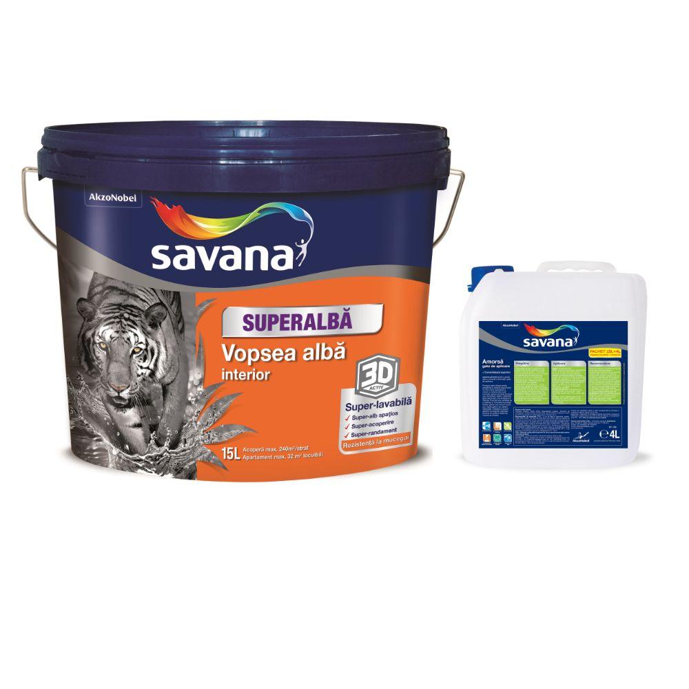 Vopsea superlavabila, Savana, superalba, pentru interior, 15 l + 4 L amorsa