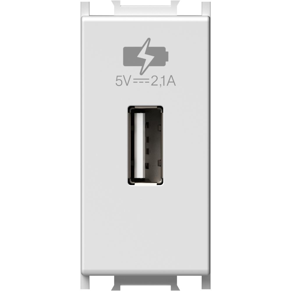 MODUL INCARCATOR USB 1 MODUL 5VDC ALB mathaus 2021