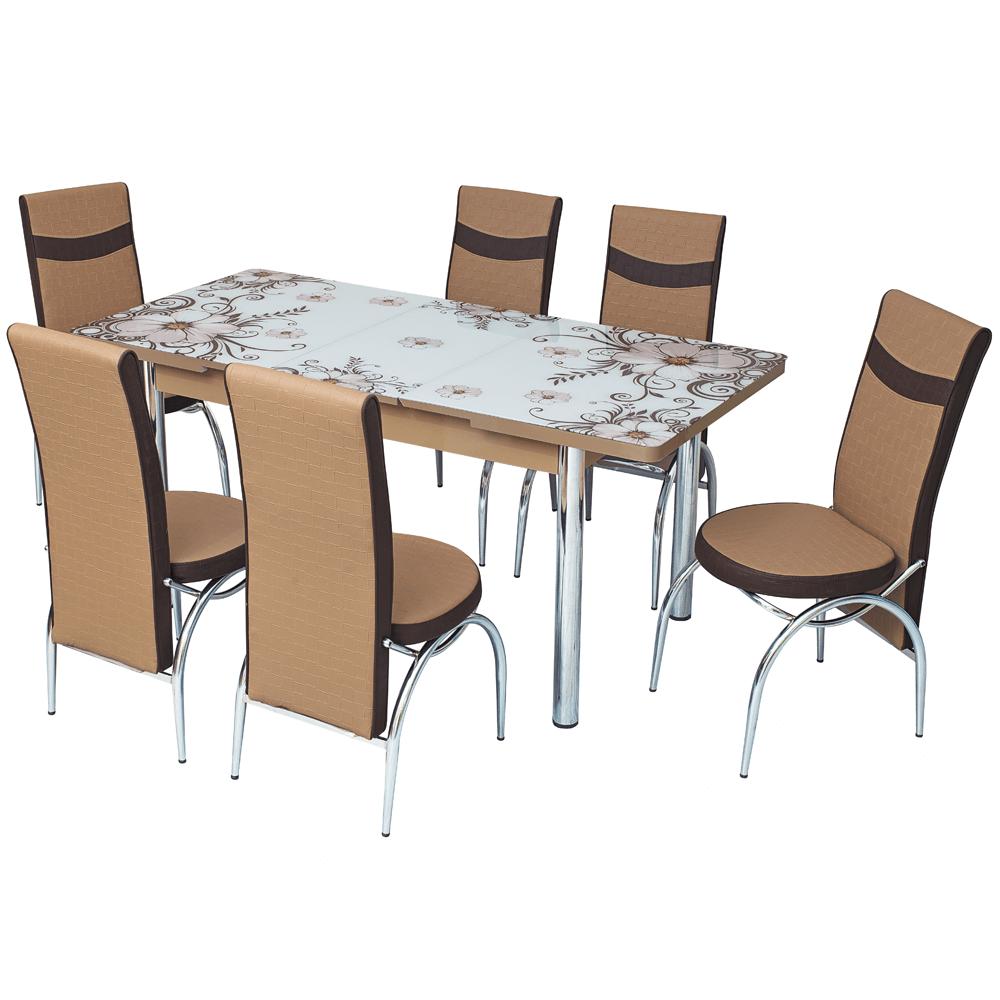 Masa de bucatarie + 6 scaune, set Dalia, extensibila imagine 2021 mathaus