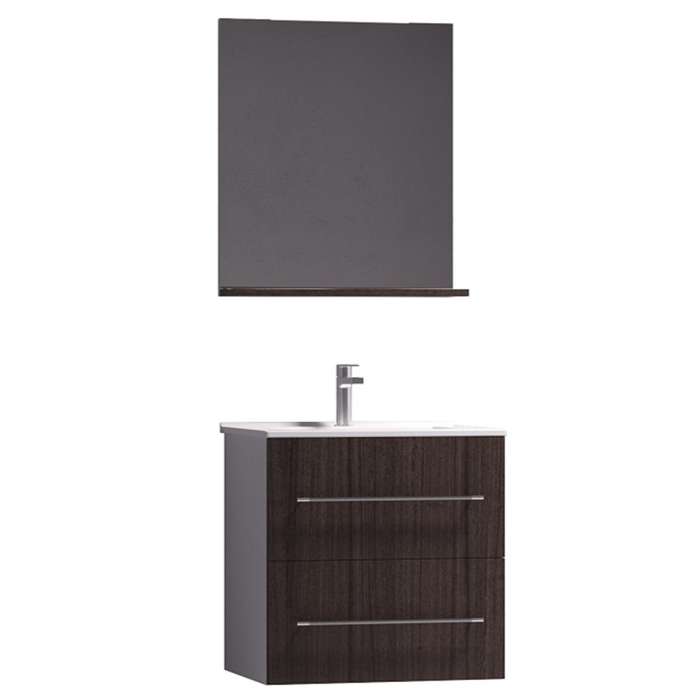 Set mobilier baie Badenmob Seria 054B-60, masca + lavoar + oglinda cu polita, wenge imagine 2021 mathaus