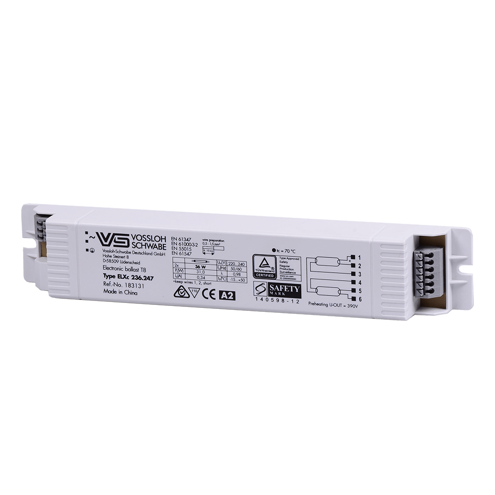 Balast electronic, 275 mm, 2 x 36 W, alb