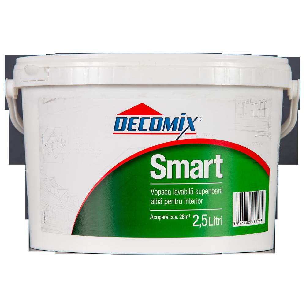 Vopsea acrilica lavabila Decomix Smart, alba, de interior, 2,5 L imagine 2021 mathaus