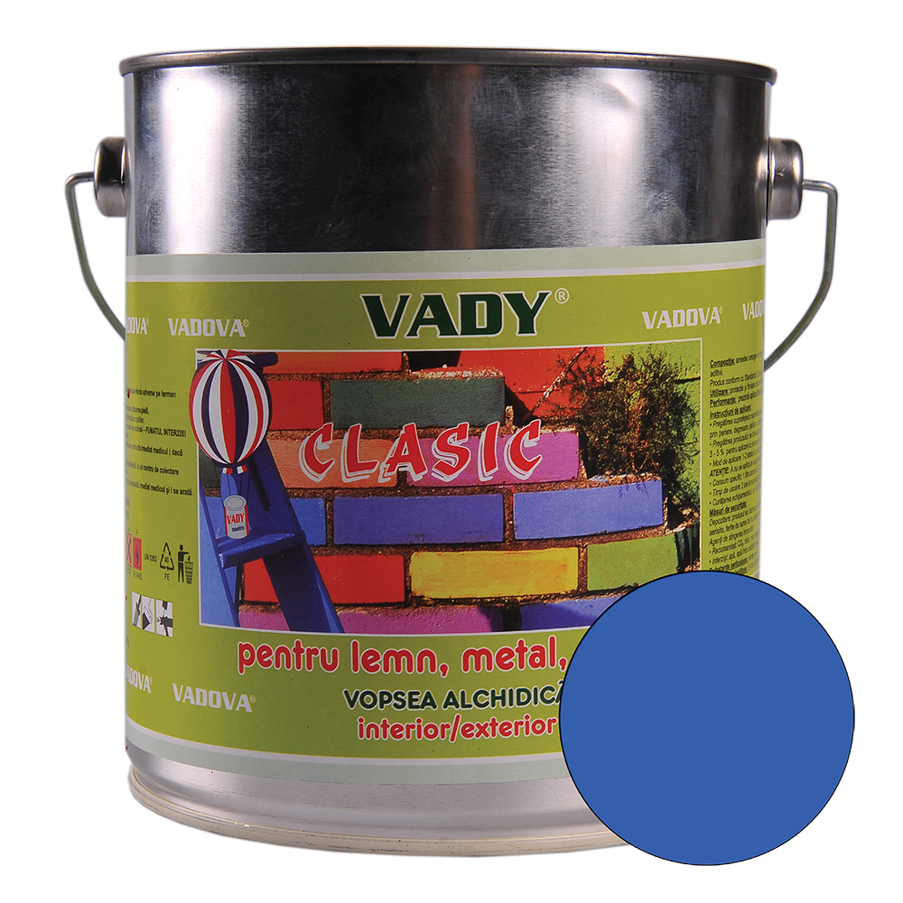 Vopsea alchidica Vady clasic, pentru lemn/metal/zidarie, interior/exterior, albastru, 2,5 l imagine MatHaus.ro