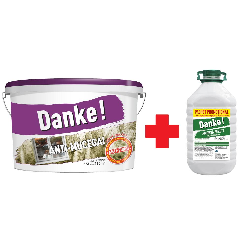 Vopsea lavabila interior Danke Anti-Mucegai, alba, 15 L + Amorsa 4 L