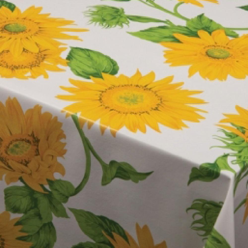 Fata de masa, model floarea soarelui, pvc, alb, verde, galben, 140 cm