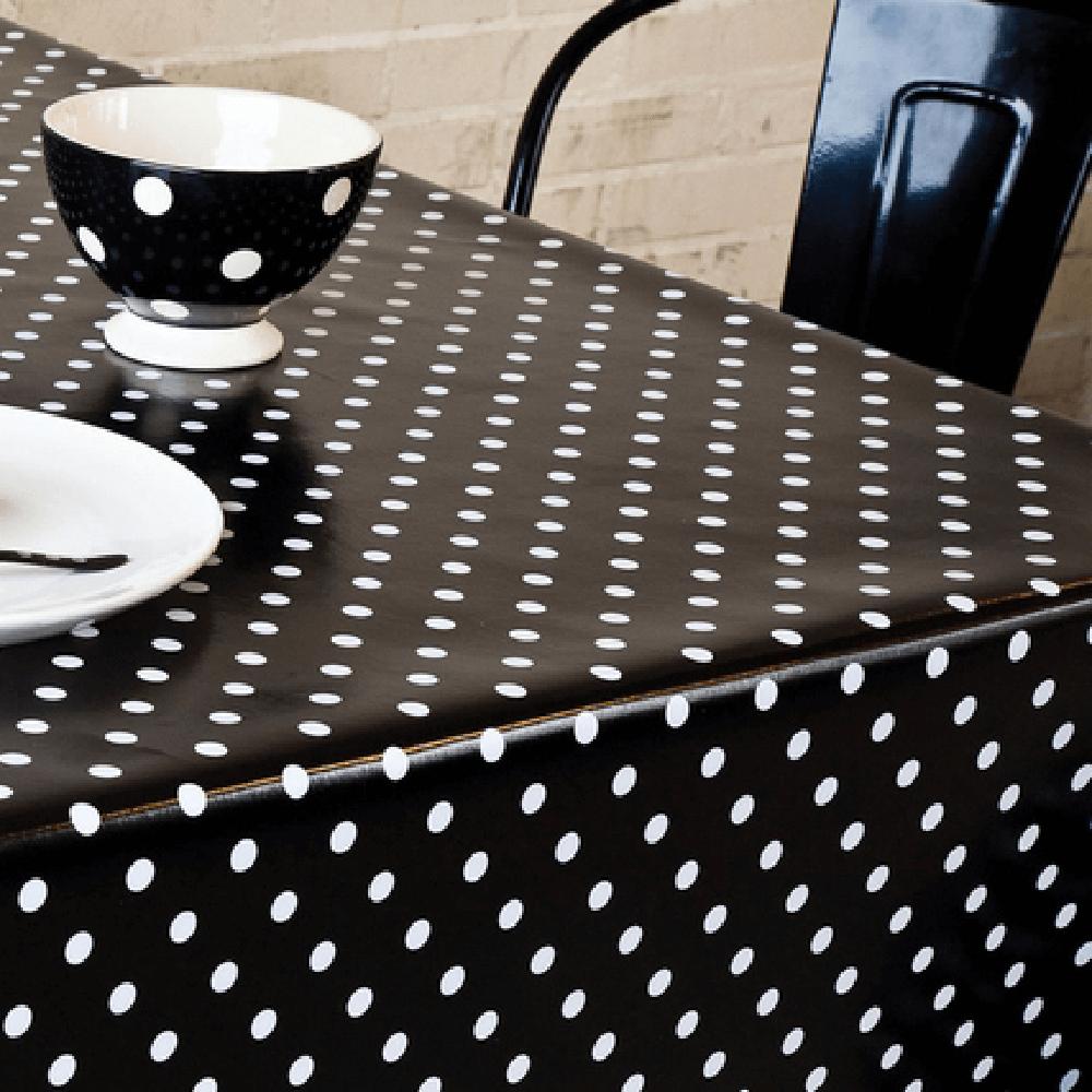 Fata de masa, model buline, pvc, negru, alb, 140 cm