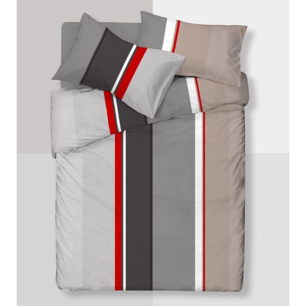 Lenjerie pat Minet Conf, 2 persoane , 4 piese, bumbac 100% , linii gri - negru - rosu - alb