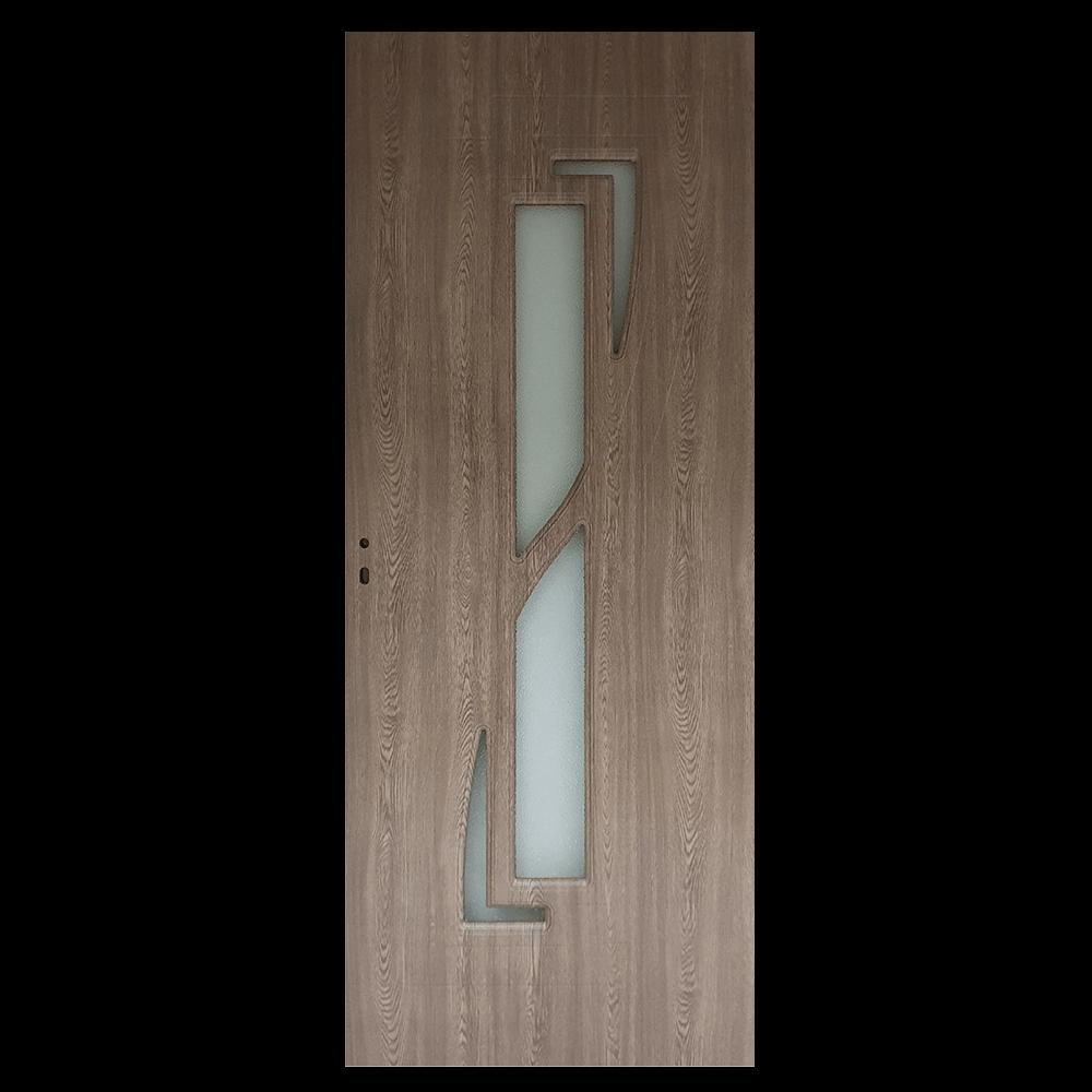 Usa interior cu geam Pamate M042, gri, 203 x 80 x 3,5 cm + toc 10 cm, reversibila