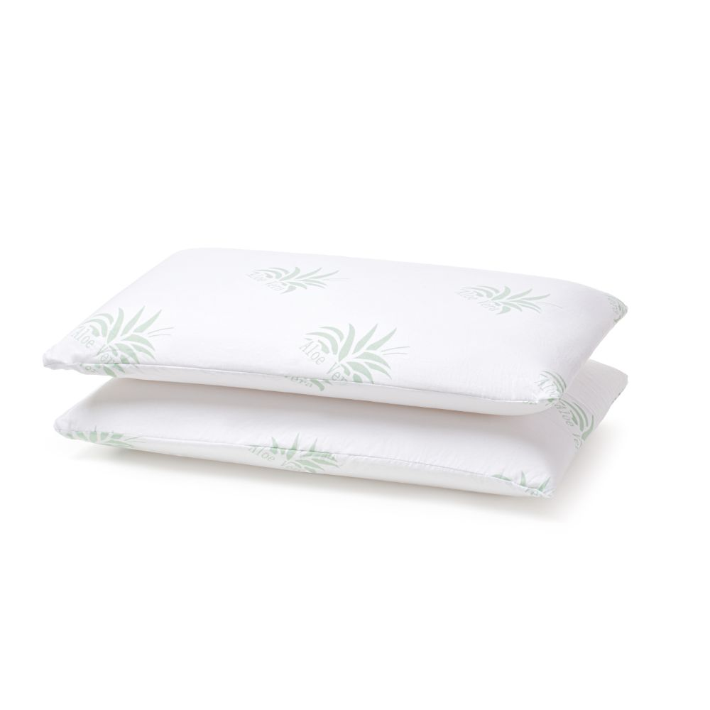 Set 2 perne pentru dormit  Memory Aloe Vera spuma cu memorie + microfibra alb, verde 40 x 70 cm imagine MatHaus.ro